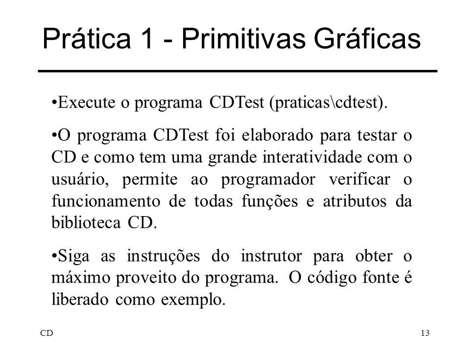CD13 Prática 1 - Primitivas Gráficas Execute o programa CDTest (praticas\cdtest). O programa CDTest foi elaborado para testar o CD e como tem uma gran