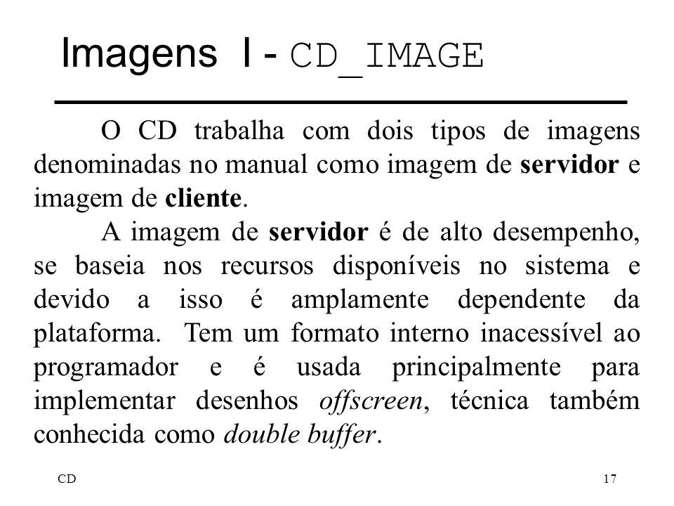 CD17 Imagens I - CD_IMAGE O CD trabalha com dois tipos de imagens denominadas no manual como imagem de servidor e imagem de cliente. A imagem de servi