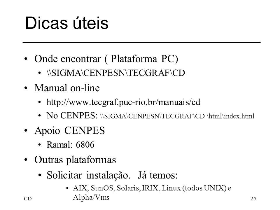 CD25 Dicas úteis Onde encontrar ( Plataforma PC) \\SIGMA\CENPESN\TECGRAF\CD Manual on-line http://www.tecgraf.puc-rio.br/manuais/cd No CENPES: \\SIGMA