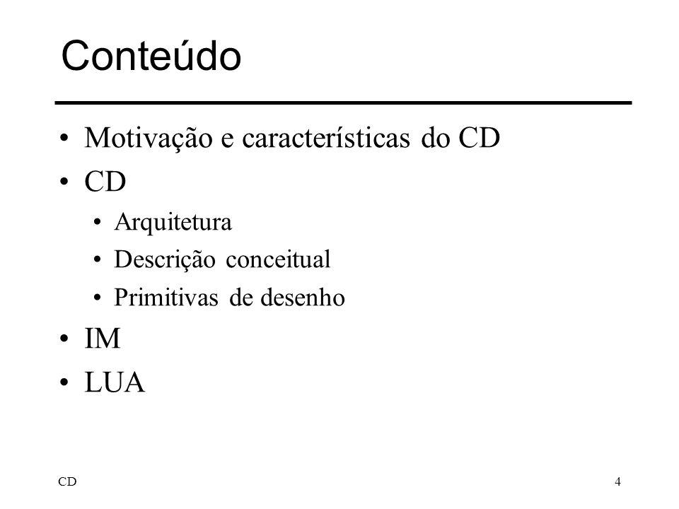 CD4 Conteúdo Motivação e características do CD CD Arquitetura Descrição conceitual Primitivas de desenho IM LUA