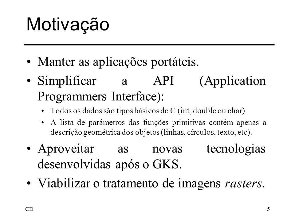 CD5 Motivação Manter as aplicações portáteis. Simplificar a API (Application Programmers Interface): Todos os dados são tipos básicos de C (int, doubl