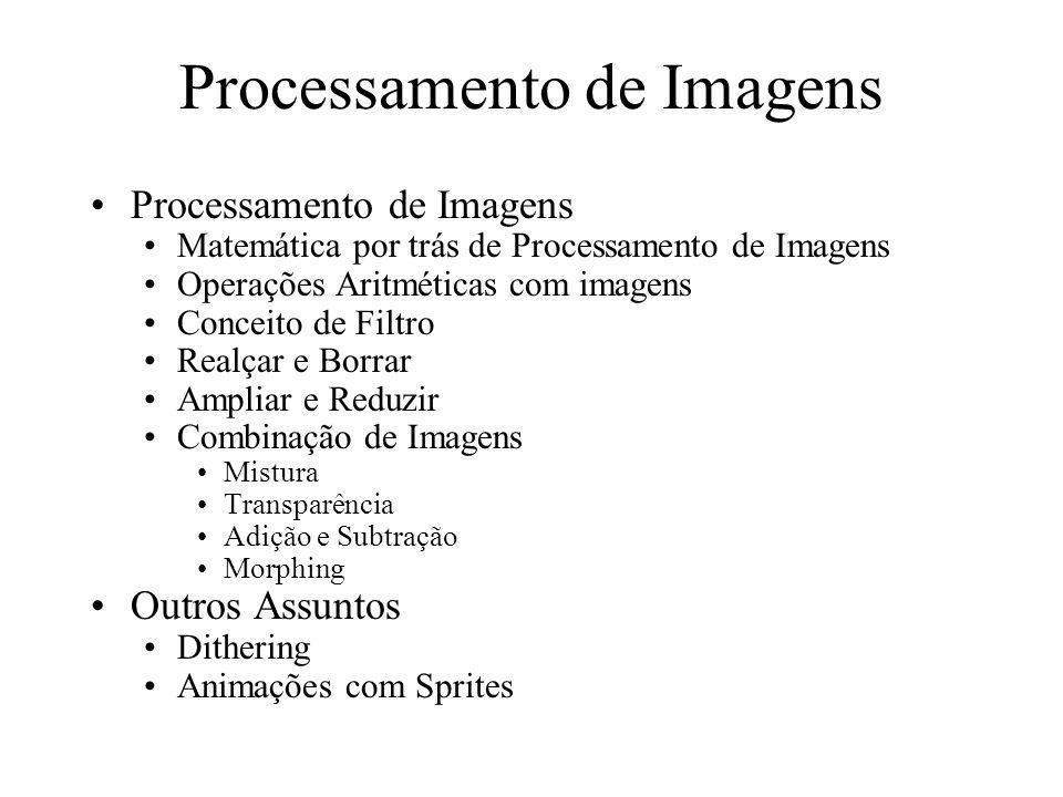 Processamento de Imagens Matemática por trás de Processamento de Imagens Operações Aritméticas com imagens Conceito de Filtro Realçar e Borrar Ampliar