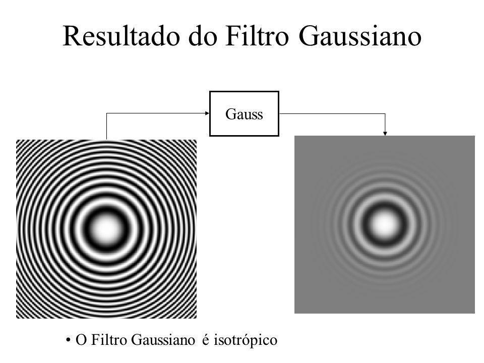 Resultado do Filtro Gaussiano Gauss O Filtro Gaussiano é isotrópico