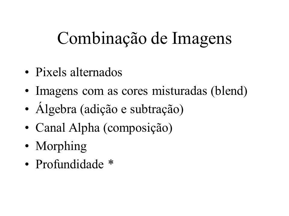 Combinação de Imagens Pixels alternados Imagens com as cores misturadas (blend) Álgebra (adição e subtração) Canal Alpha (composição) Morphing Profund