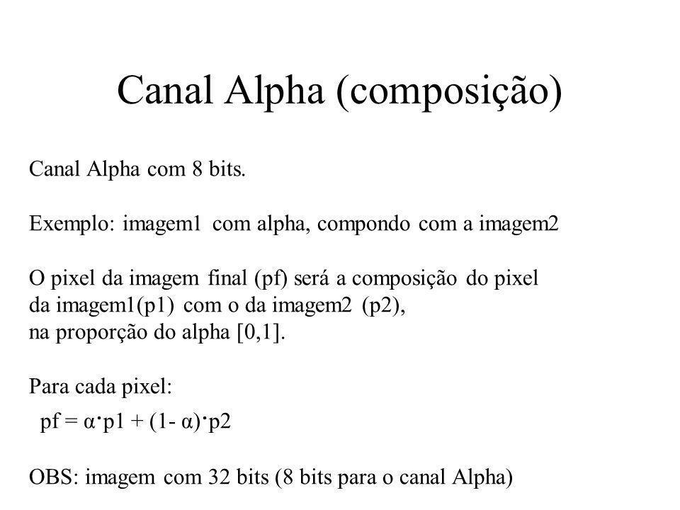 Canal Alpha (composição) Canal Alpha com 8 bits. Exemplo: imagem1 com alpha, compondo com a imagem2 O pixel da imagem final (pf) será a composição do