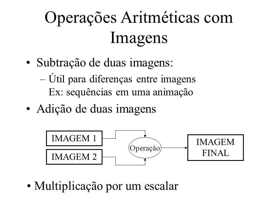 Subtração de duas imagens: –Útil para diferenças entre imagens Ex: sequências em uma animação Adição de duas imagens Operações Aritméticas com Imagens