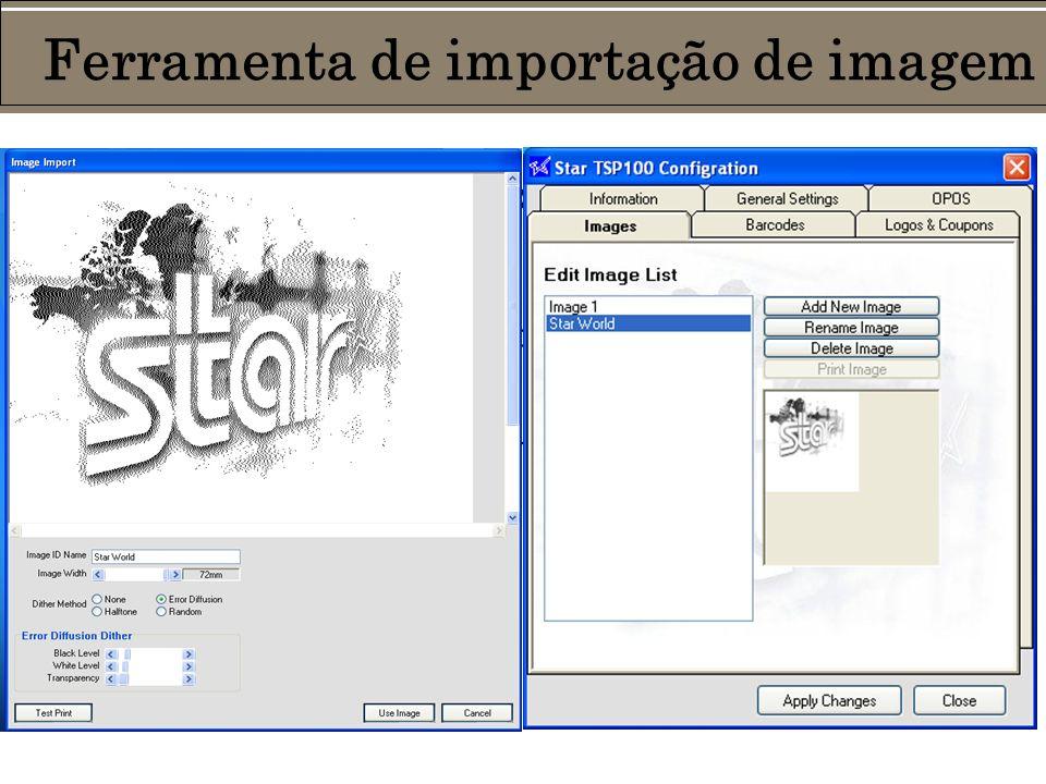 Importe quaisquer gráficos com a ferramenta da Star: Imagens monocromáticas ou coloridas jpg, gif ou bmp podem ser acessadas pelo painel de controle, salvas por nome e até preparadas para saída, com a opção de edição dos métodos de pontilhamento.