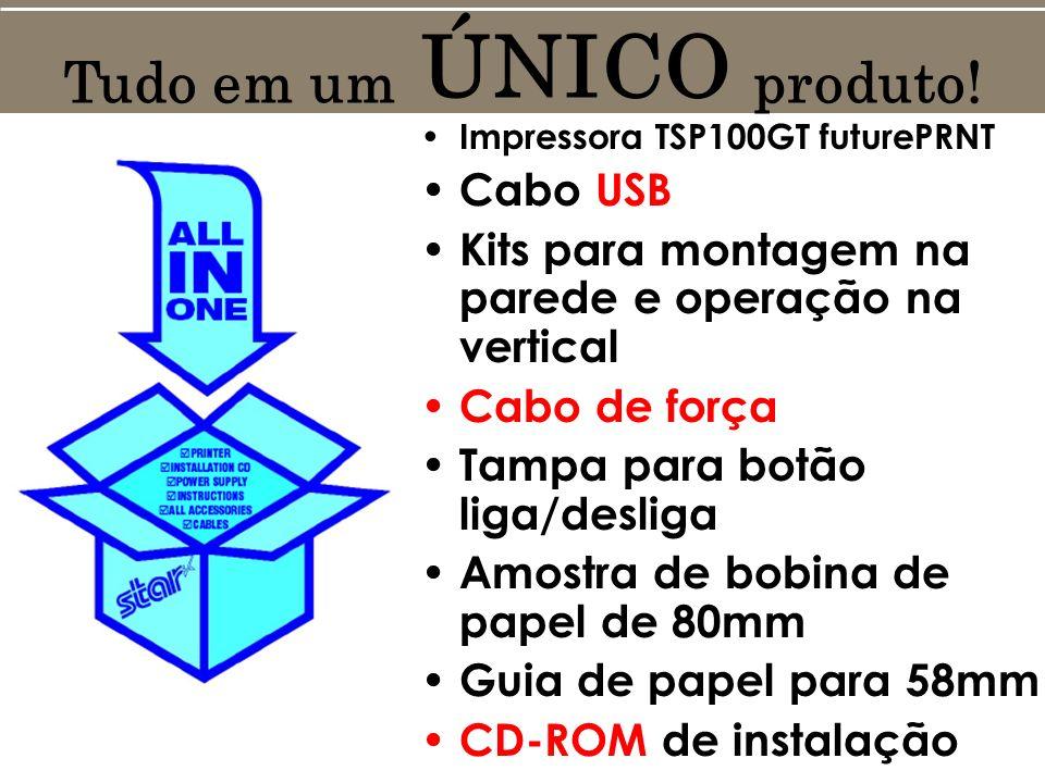 Impressora TSP100GT futurePRNT Cabo USB Kits para montagem na parede e operação na vertical Cabo de força Tampa para botão liga/desliga Amostra de bobina de papel de 80mm Guia de papel para 58mm CD-ROM de instalação Tudo em um ÚNICO produto!