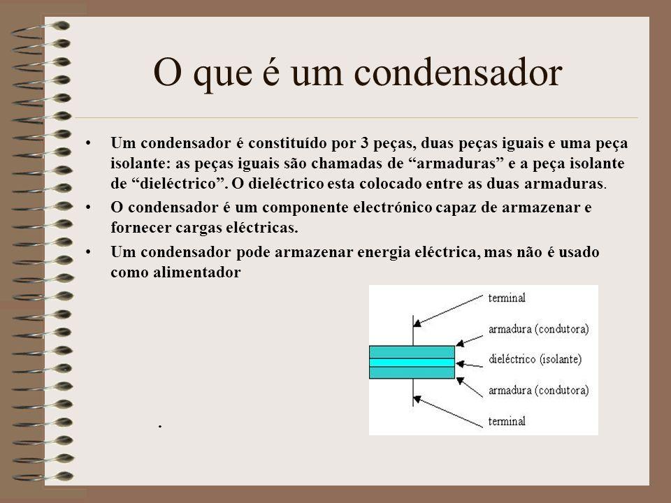 O que é um condensador Um condensador é constituído por 3 peças, duas peças iguais e uma peça isolante: as peças iguais são chamadas de armaduras e a