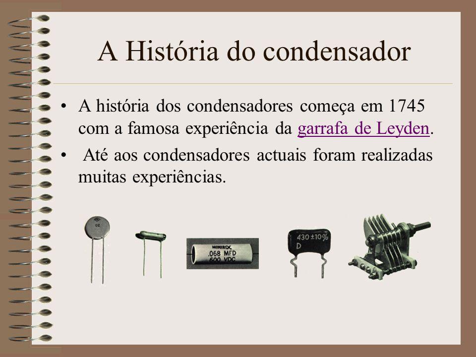 A História do condensador A história dos condensadores começa em 1745 com a famosa experiência da garrafa de Leyden.garrafa de Leyden Até aos condensa