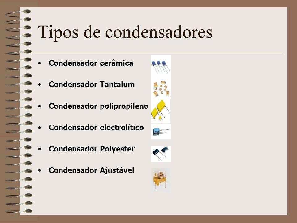 Tipos de condensadores Condensador cerâmica Condensador Tantalum Condensador polipropileno Condensador electrolítico Condensador Polyester Condensador