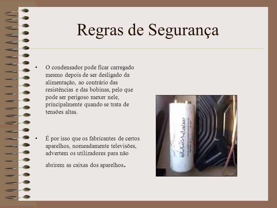Regras de Segurança O condensador pode ficar carregado mesmo depois de ser desligado da alimentação, ao contrário das resistências e das bobinas, pelo