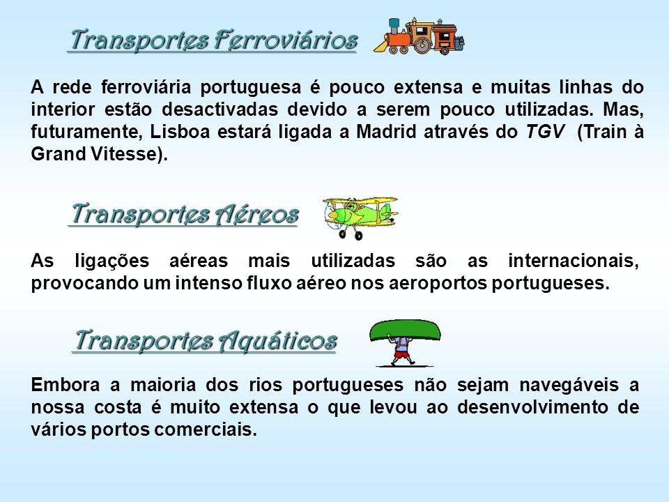 Transportes Ferroviários A rede ferroviária portuguesa é pouco extensa e muitas linhas do interior estão desactivadas devido a serem pouco utilizadas.