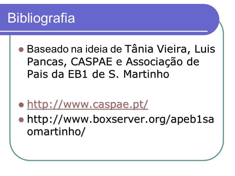 Bibliografia Tânia Vieira, Luis Pancas, CASPAE Associação de Pais da EB1 de S. Martinho Baseado na ideia de Tânia Vieira, Luis Pancas, CASPAE e Associ