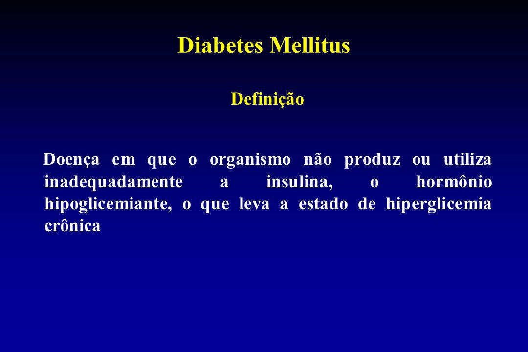 Diabetes Mellitus Diagnóstico Glicemia de jejum 110 mg/dL* Glicemia após 2 h de 75 g de glicose oral 200 mg/dL* Glicemia ocasional 200 mg/dL e sintomas clássicos * Deve haver confirmação diagnóstica pela repetição do teste em outro dia