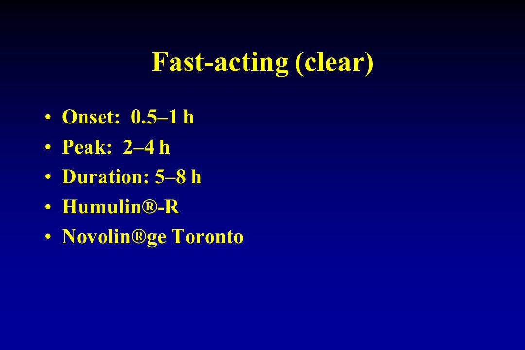 Fast-acting (clear) Onset: 0.5–1 h Peak: 2–4 h Duration: 5–8 h Humulin®-R Novolin®ge Toronto