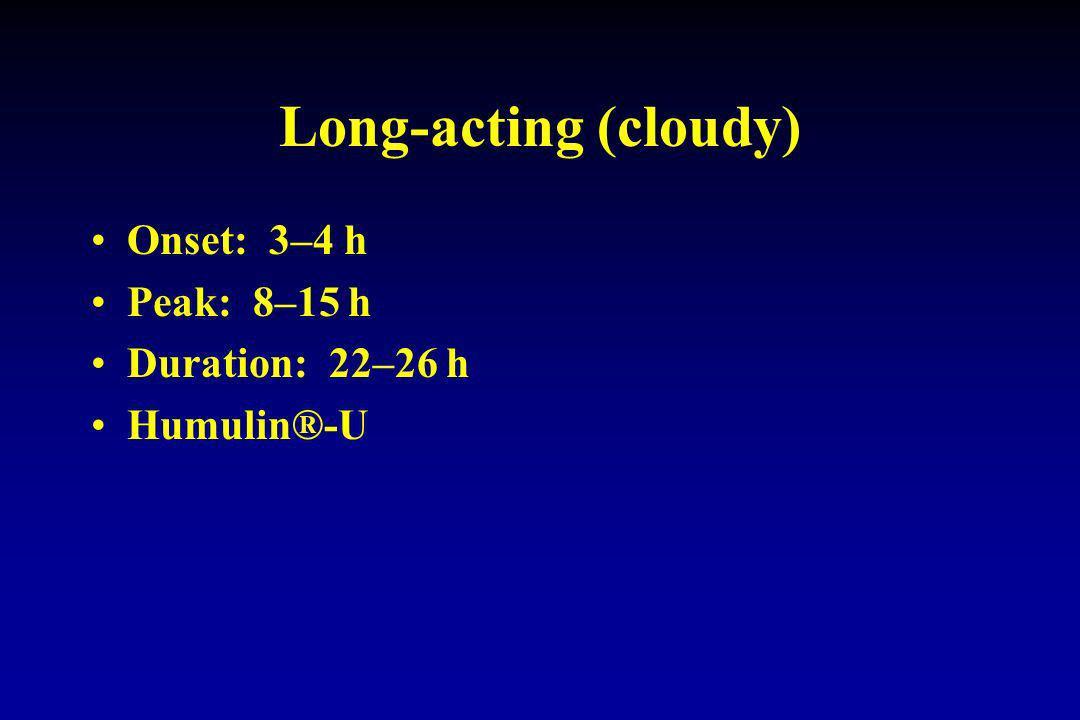 Long-acting (cloudy) Onset: 3–4 h Peak: 8–15 h Duration: 22–26 h Humulin®-U