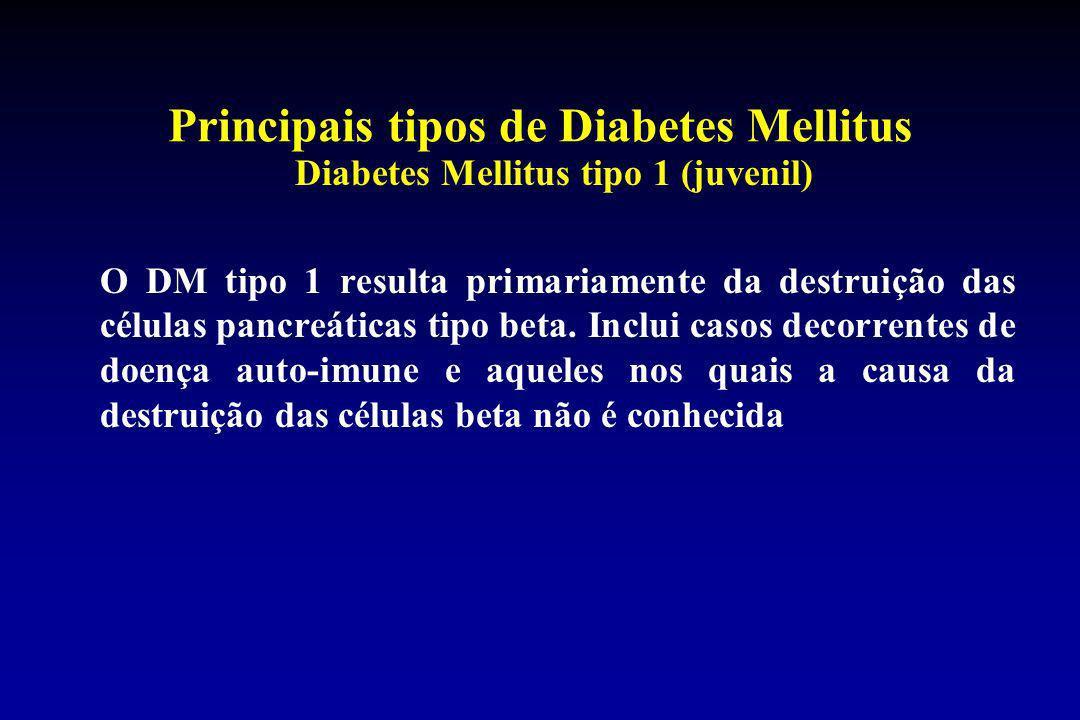 Principais tipos de Diabetes Mellitus Diabetes Mellitus tipo 1 (juvenil) O DM tipo 1 resulta primariamente da destruição das células pancreáticas tipo