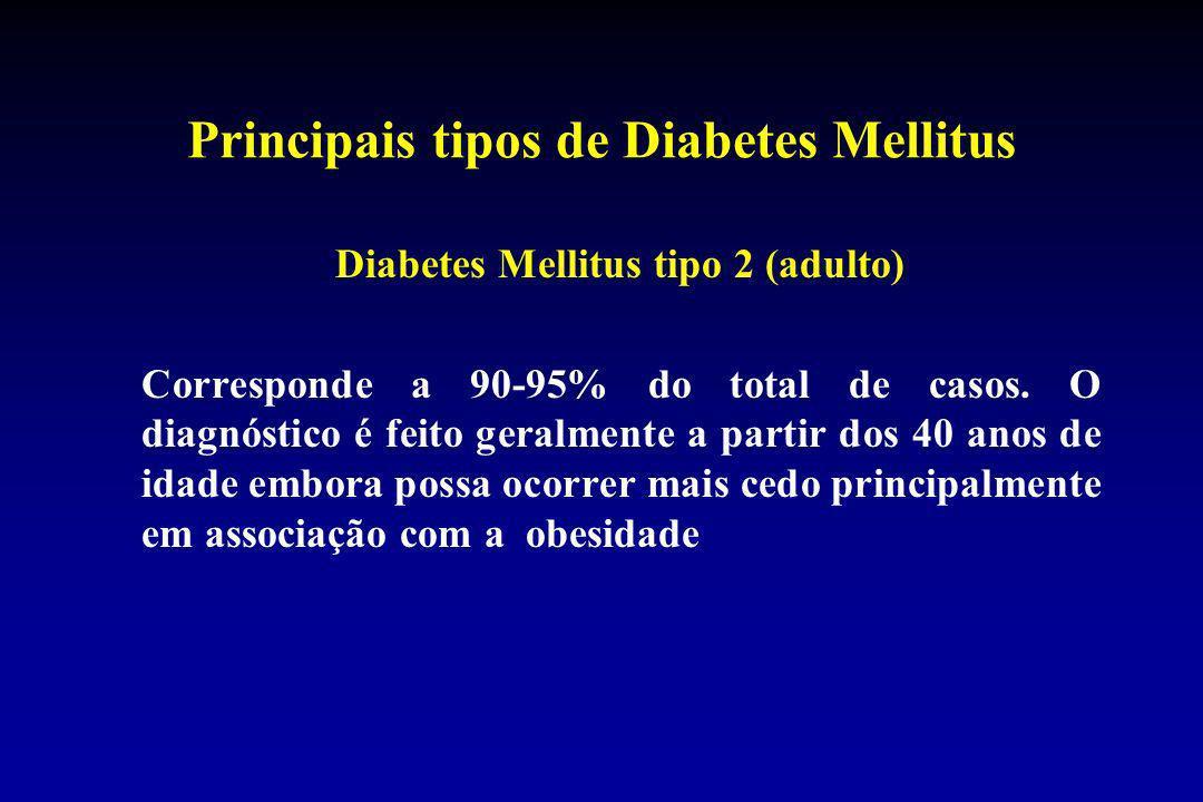 Principais tipos de Diabetes Mellitus Diabetes Mellitus tipo 2 (adulto) Corresponde a 90-95% do total de casos. O diagnóstico é feito geralmente a par