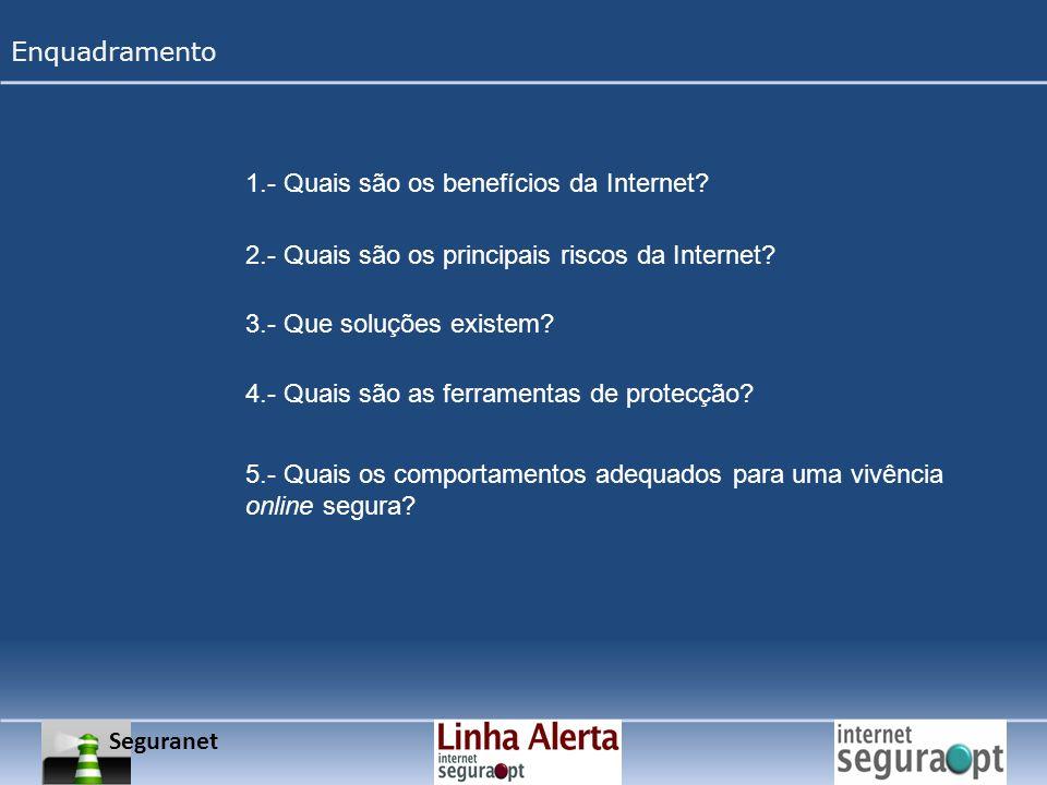 Seguranet Enquadramento 1.- Quais são os benefícios da Internet? 2.- Quais são os principais riscos da Internet? 3.- Que soluções existem? 4.- Quais s