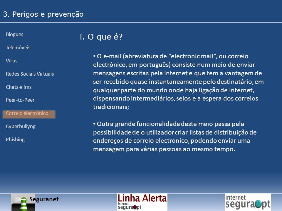 Seguranet 3. Perigos e prevenção Blogues Telemóveis Vírus Redes Sociais Virtuais Chats e Ims Peer-to-Peer Correio electrónico Cyberbullyng Phishing i.