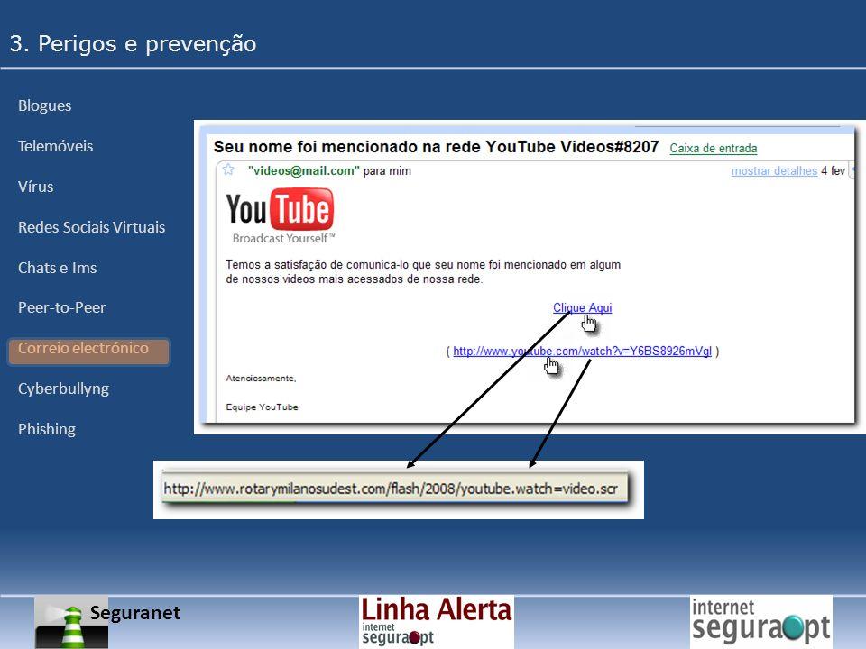 Seguranet 3. Perigos e prevenção Blogues Telemóveis Vírus Redes Sociais Virtuais Chats e Ims Peer-to-Peer Correio electrónico Cyberbullyng Phishing
