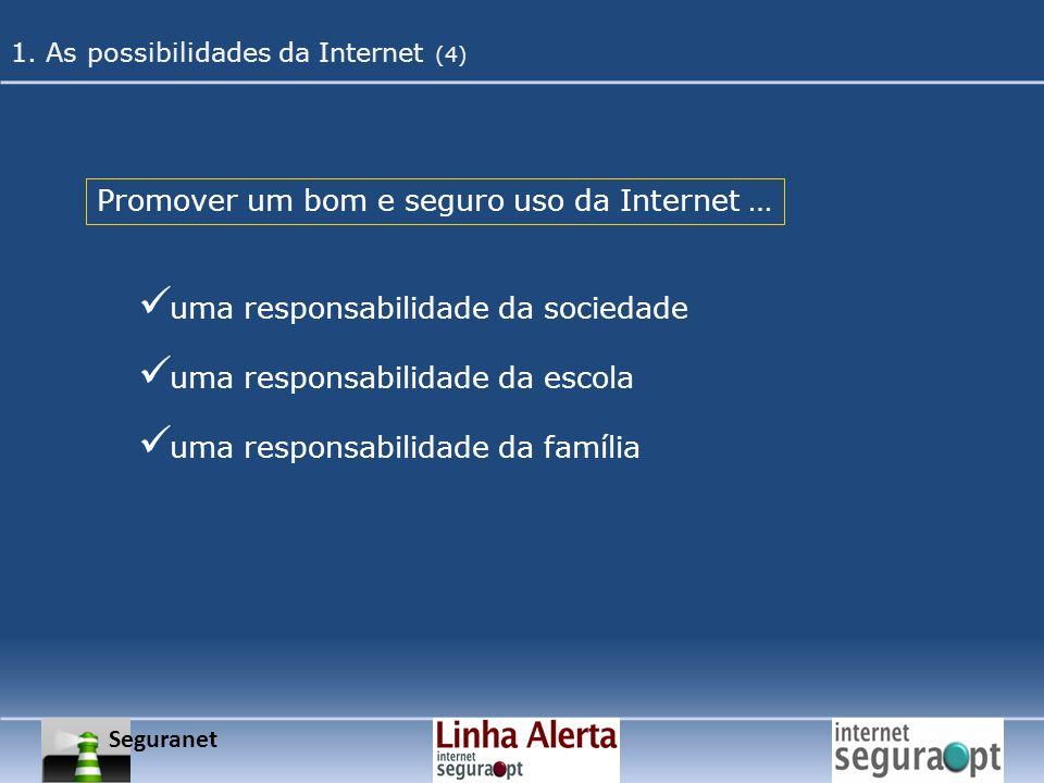 Promover um bom e seguro uso da Internet … uma responsabilidade da sociedade uma responsabilidade da escola uma responsabilidade da família Seguranet