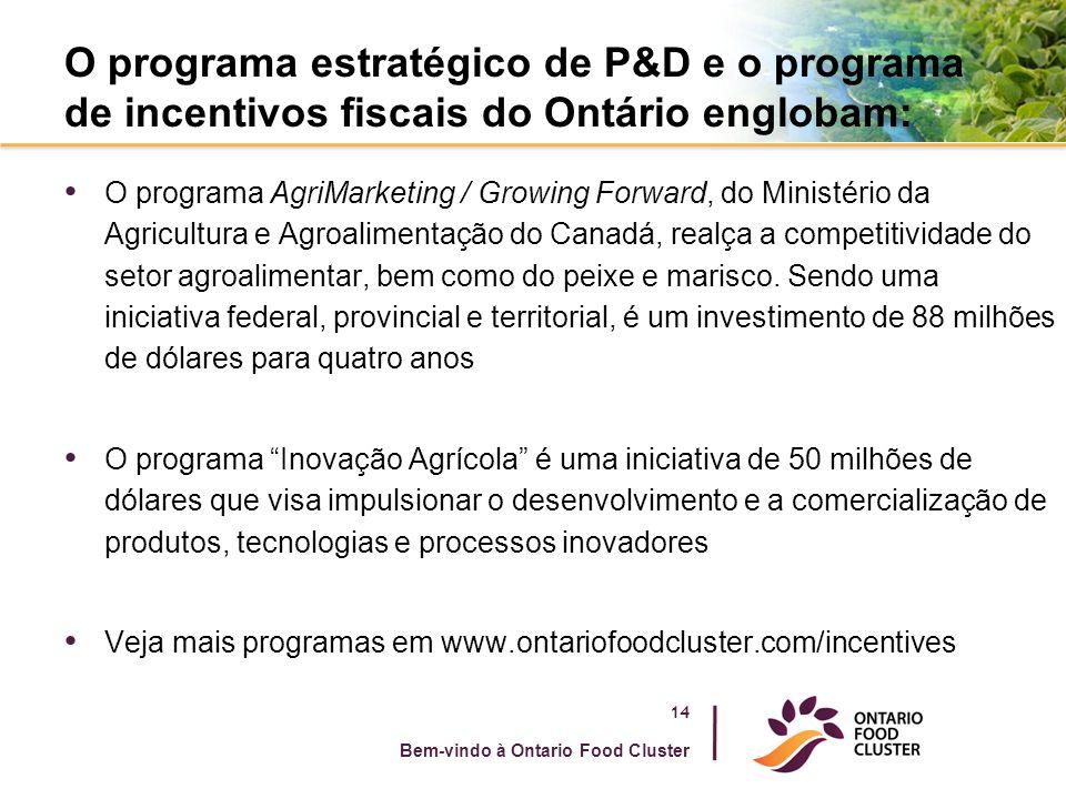 O programa estratégico de P&D e o programa de incentivos fiscais do Ontário englobam: O programa AgriMarketing / Growing Forward, do Ministério da Agricultura e Agroalimentação do Canadá, realça a competitividade do setor agroalimentar, bem como do peixe e marisco.