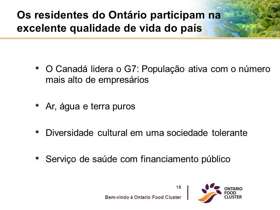 Os residentes do Ontário participam na excelente qualidade de vida do país O Canadá lidera o G7: População ativa com o número mais alto de empresários Ar, água e terra puros Diversidade cultural em uma sociedade tolerante Serviço de saúde com financiamento público 18 Bem-vindo à Ontario Food Cluster