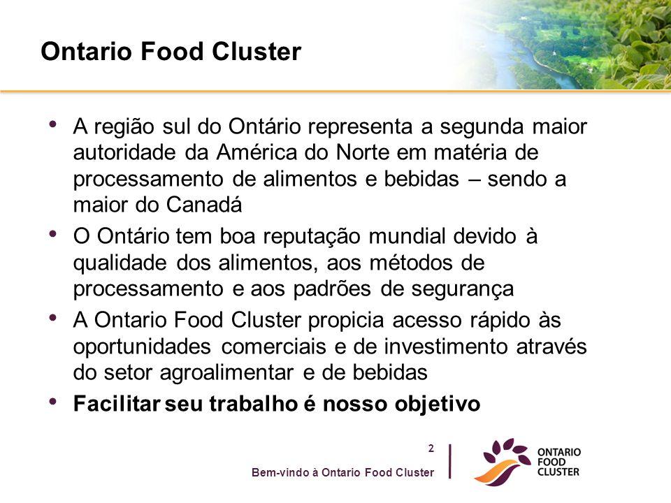 Ontario Food Cluster A região sul do Ontário representa a segunda maior autoridade da América do Norte em matéria de processamento de alimentos e bebidas – sendo a maior do Canadá O Ontário tem boa reputação mundial devido à qualidade dos alimentos, aos métodos de processamento e aos padrões de segurança A Ontario Food Cluster propicia acesso rápido às oportunidades comerciais e de investimento através do setor agroalimentar e de bebidas Facilitar seu trabalho é nosso objetivo 2 Bem-vindo à Ontario Food Cluster