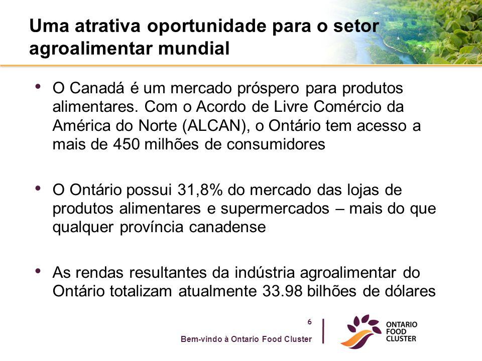A nossa história – o setor agroalimentar é o maior empregador do Ontário 7 Bem-vindo à Ontario Food Cluster 130.000 pessoas no Ontário trabalham diretamente no setor atacadista e do processamento/fabricação agroalimentar Quase 483.000 pessoas trabalham em setores relacionados, tais como o setor dos serviços de alimentação e as lojas de alimentos a varejo A disponibilidade dos engenheiros qualificados é a mais alta dos países do G7