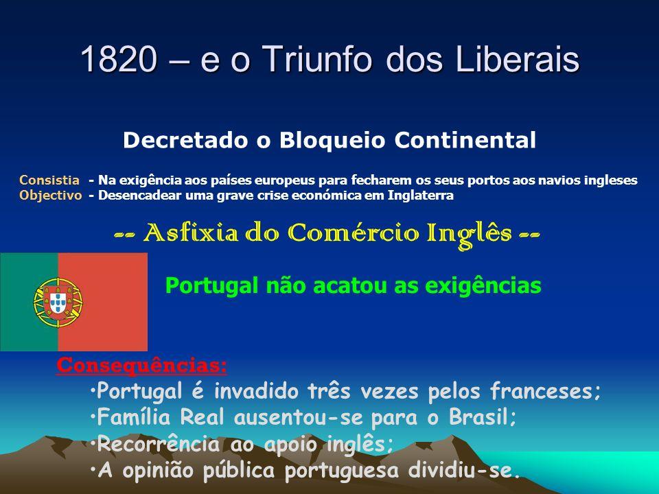 1820 – e o Triunfo dos Liberais Decretado o Bloqueio Continental Consistia - Na exigência aos países europeus para fecharem os seus portos aos navios