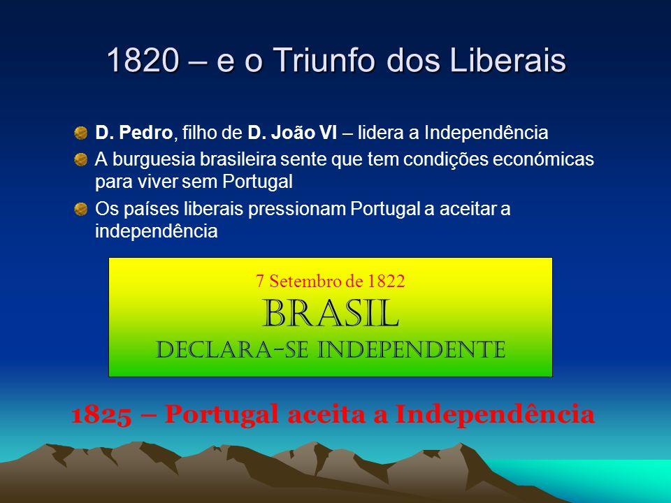 D. Pedro, filho de D. João VI – lidera a Independência A burguesia brasileira sente que tem condições económicas para viver sem Portugal Os países lib