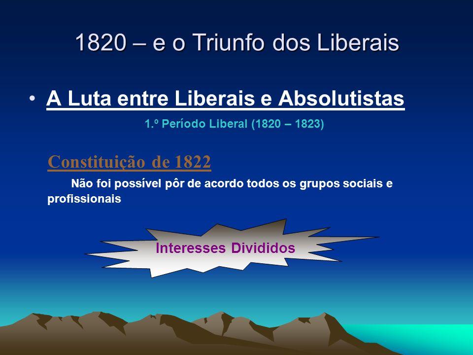 A Luta entre Liberais e Absolutistas Constituição de 1822 Não foi possível pôr de acordo todos os grupos sociais e profissionais Interesses Divididos