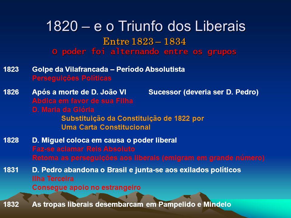 1820 – e o Triunfo dos Liberais As tropas liberais desembarcam em Pampelido e Mindelo Entre 1823 – 1834 O poder foi alternando entre os grupos 1823 Go