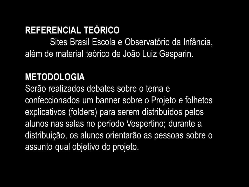 REFERENCIAL TEÓRICO Sites Brasil Escola e Observatório da Infância, além de material teórico de João Luiz Gasparin. METODOLOGIA Serão realizados debat