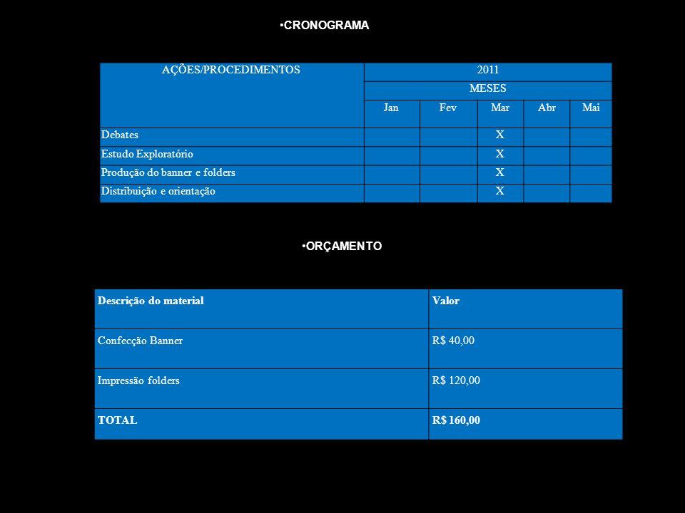 AÇÕES/PROCEDIMENTOS2011 MESES JanFevMarAbrMai DebatesX Estudo ExploratórioX Produção do banner e foldersX Distribuição e orientaçãoX CRONOGRAMA Descri