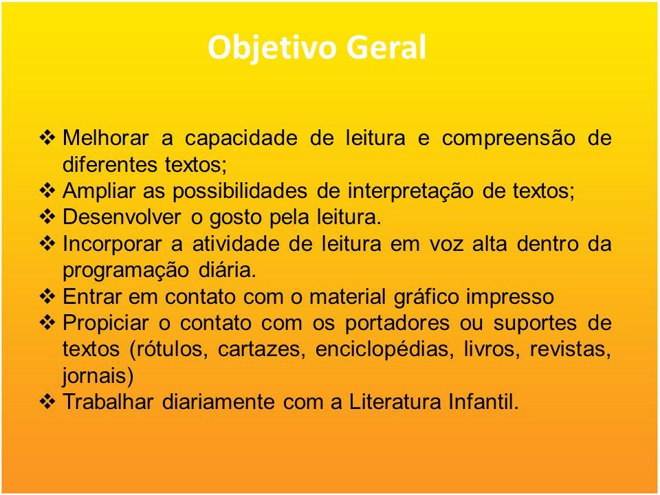 Objetivo Geral Melhorar a capacidade de leitura e compreensão de diferentes textos; Ampliar as possibilidades de interpretação de textos; Desenvolver