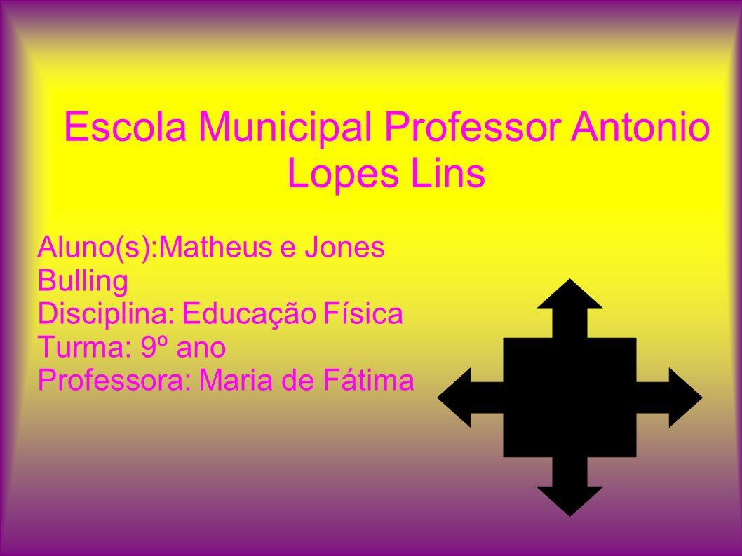 Escola Municipal Professor Antonio Lopes Lins Aluno(s):Matheus e Jones Bulling Disciplina: Educação Física Turma: 9º ano Professora: Maria de Fátima