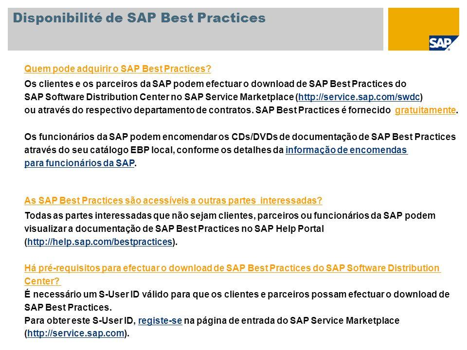 Quem pode adquirir o SAP Best Practices? Os clientes e os parceiros da SAP podem efectuar o download de SAP Best Practices do SAP Software Distributio