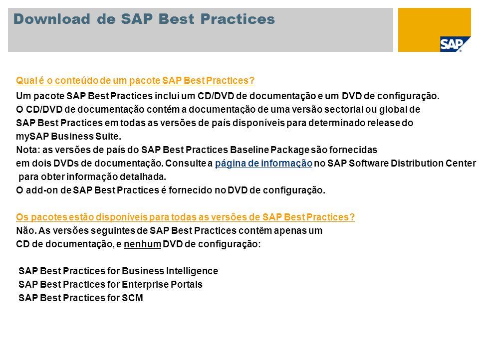 Qual é o conteúdo de um pacote SAP Best Practices? Um pacote SAP Best Practices inclui um CD/DVD de documentação e um DVD de configuração. O CD/DVD de