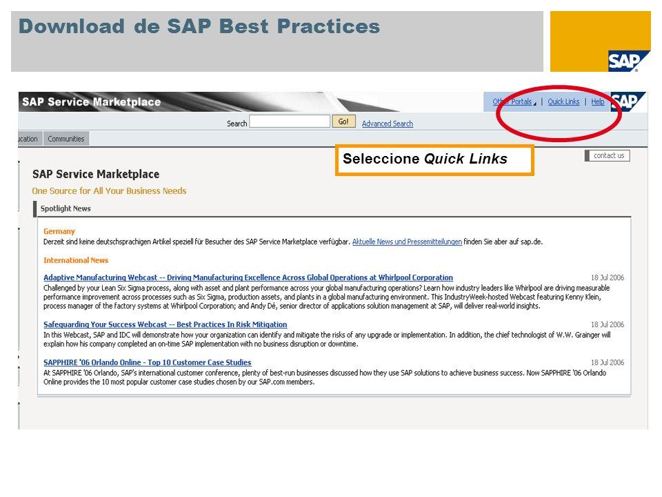 Download de SAP Best Practices Seleccione Quick Links