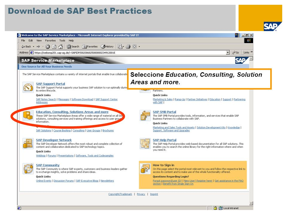 Download de SAP Best Practices Seleccione Quick Links