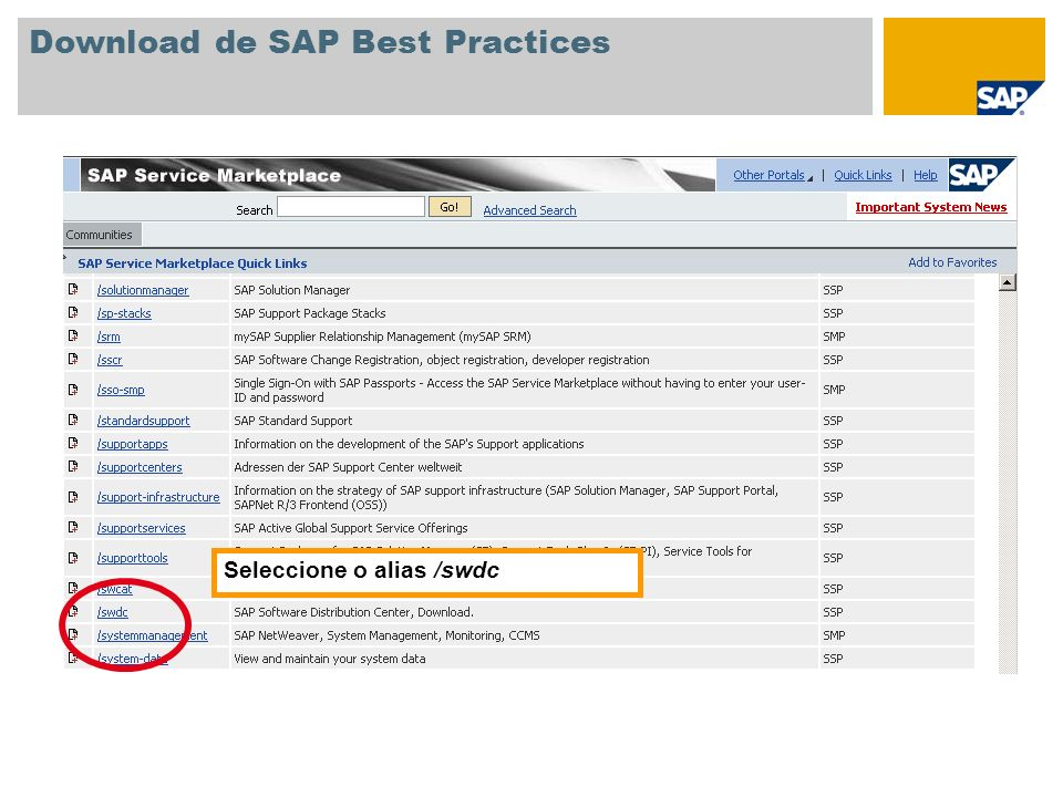 Download de SAP Best Practices No ecrã de entrada do Software Distribution Center, seleccione SAP Installations and Upgrades Entry by Application Group SAP Best Practices Best Practices for mySAP All-in-One e clique sobre a versão pretendida de SAP Best Practices.