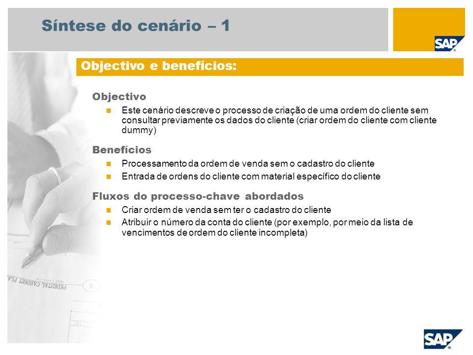 Síntese do cenário – 2 Obrigatório SAP ECC 6.3 Funções da empresa envolvidas nos fluxos do processo Administração de vendas Encarregado do depósito Documento de facturação Contabilidade de clientes Aplicações SAP necessárias: