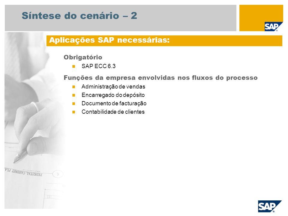 Síntese do cenário – 2 Obrigatório SAP ECC 6.3 Funções da empresa envolvidas nos fluxos do processo Administração de vendas Encarregado do depósito Do