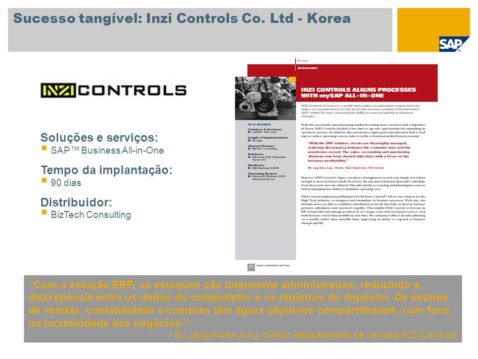 Sucesso tangível: Inzi Controls Co. Ltd - Korea Com a solução ERP, os estoques são totalmente administrados, reduzindo a discrepância entre os dados d