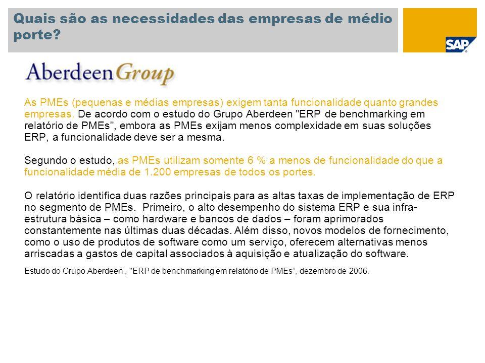 Tempo médio de economia durante a avaliação e implantação Para 100% dos participantes, a utilização do SAP Business All-in-One, SAP Best Practices contribuiu para uma redução nos custos do projeto A economia é estimada entre 25.000 e 150.000 euros.