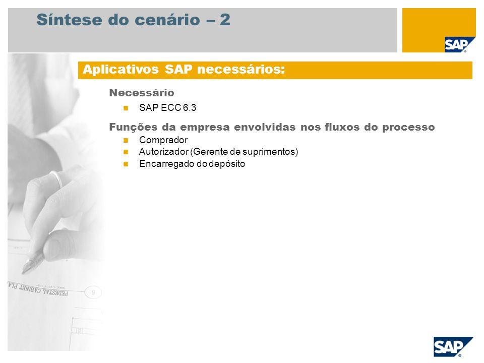 Síntese do cenário – 2 Necessário SAP ECC 6.3 Funções da empresa envolvidas nos fluxos do processo Comprador Autorizador (Gerente de suprimentos) Enca