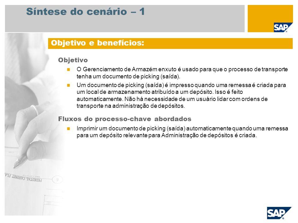 Síntese do cenário – 1 Objetivo O Gerenciamento de Armazém enxuto é usado para que o processo de transporte tenha um documento de picking (saída). Um